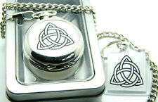 Witch Triquetra Pagan Symbol Witchcraft Badge Pocket Watch Chain Keyring