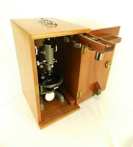 BECK LONDON MODEL 5000 VINTAGE MICROSCOPE IN WOODEN BOX WITH KEY & LENSES