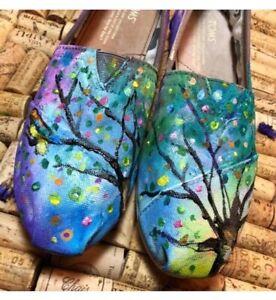 Custom Toms Hand Painted birds flowers tree  Bird TOMS Shoes - Boho 6.5 Unique