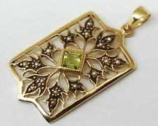 P022 Genuine 9K 9ct SOLID Yellow Gold NATURAL Peridot & Pearl Filigree Pendant