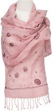 Schal, 100% Wolle wool scarf stole écharpe bestickt embroidered Rosa light pink