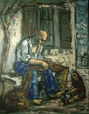 René GRAS (1911-2006) Pastel Pêcheur Années 50 Expressionnisme Ecole de Paris