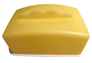 Tupperware Impressions Cheese & Butter Buddy Dish Expressions Yellow New #3672A