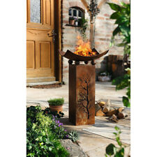 Iron Wood Flame Authentic Burning Fire Column Outsunny Outdoor Fire Pit