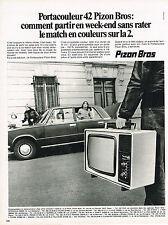 PUBLICITE  1974   PIZON BROS   téléviseur en couleur portable
