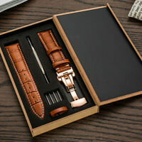 Genuine Leather 22MM Watch Band Strap Kit Butterfly Buckle Deployment Clasp -|