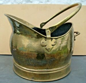 Large Helmet Style Brass Coal Scuttle Bucket with Swing Handle. Planished Finish