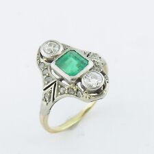 NYJEWEL 14K Gold Antique Columbia Emerald Rose Cut Diamond Cocktail Ring
