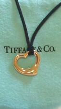 TIFFANY & CO. 18K YELLOW GOLD ELSA PERETTI OPEN HEART 16mm PENDANT