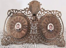 Antique 19th century Anton Boehm (Austria) brass and porcelain picture frame
