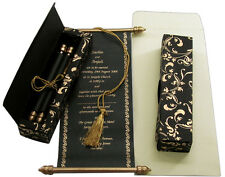 150Pcs Black Scroll Wedding Invitation Card Custom Personalized Printing Scrolls