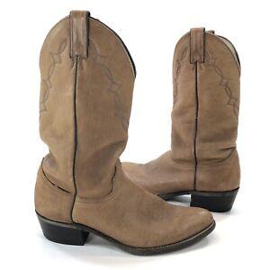Abilene Men's Size 10 D Genuine Elk Leather Tan Western Cowboy Boots USA