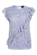 Topshop Lilac Lace Asymetrical Ruffle Shell Top Size 6 Rrp £26 Box2711 i