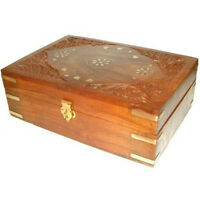 Carved Wooden Brass Aromatherapy Oils Box Holds 24 x 10ml Essential Oil Bottles