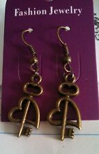 Handmade Bronze Plated Heart with Key Charm Dangle Earrings - Free Shipping