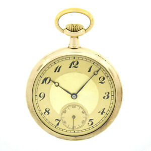 Vintage 15j Swiss Open Face Pocket Watch w/ Solid 14k Gold Etched Bird Nest Case