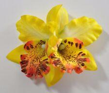 "3.5"" Bright Yellow Double Cymbidium Orchid Flower Hair Clip Luau Cruise Wedding"