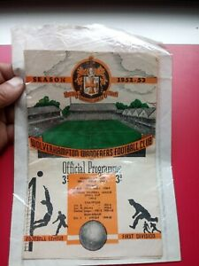 WOLVERHAMPTON WANDERERS V. CARDIFF CITY AUG. 23 1952 OFFICIAL PROGRAMME