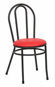 """(TWO) RED BISTRO CHAIR 35"""" TALL HEAVY DUTY WELDED BLACK STEEL FRAME RED CUSHION"""