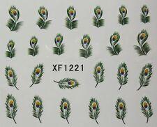 Accessoire ongles : nail art - Stickers autocollants - plumes de paon