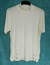 Ladies Jumper Size L Cream Short Sleeve Soft Turtle Neck Button and Belt Detail