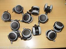 12-mal Möbelrolle Gummi grau ø 50 Gewinde M10 mit ohne Bremse Hartbodenrolle