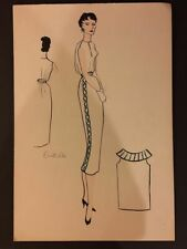 1940's 1950's Vintage Fashion Drawings Watercolor Original Art Painting