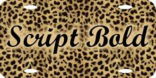 Personalized Custom Cheetah Fur License Plate Can Add Name Initials Phrase etc.