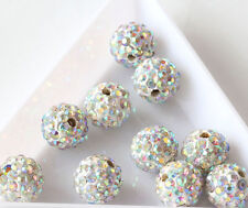 20Pcs 8mm AB Clear Crystal Rhinestones Pave Clay Round Disco Ball Spacer Beads