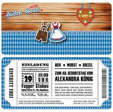 Oktoberfest Einladungskarten zum Geburtstag - Eintrittskarte - Ticket mit Abriss