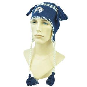 Buffalo Sabres Unisex Alpine Beanie with tassels & ear flaps, Navy Blue & White
