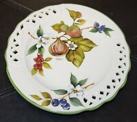 """Tiffany Brunell Hand Painted Majolica Reticulated Plate Made In Italy 8.5""""D"""