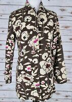 Chicos 0 Brown Floral Flower Midi Coat Jacket Cotton Beaded Pink Blazer Button