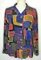 Starfire Women's Shirt Size 8 Button Up Long Sleeve Blouse Fall Geometric Top