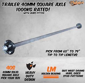 "Trailer Square Solid 40mm Square Axle Axel Caravan Hub Drum Disc 1000KG 60-79"""