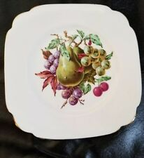 England: CLARENCE Bone China - SCALLOPED COLLECTOR PLATE - FRUIT Pear, Grapes 8""