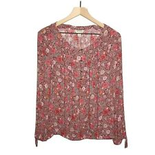 Lucky Brand Large L Floral Print Blouse Top Button Long Sleeve Red Women's