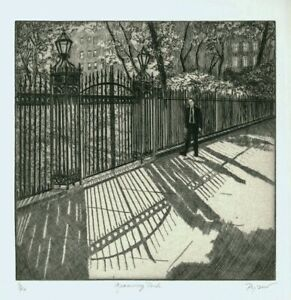 Gramercy Park etching by Susan Pyzow, pencil signed, 3/40