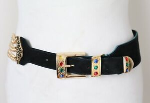 Gilt Chain Belt - Wide Suede Leather - Black - Small
