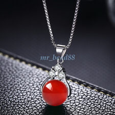 Natural Quartz Crystal Stone Round Gemstone Bead Pendant Necklace Charm Jewelry