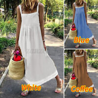 UK Women Sleeveless Strappy Holiday Casual Dresses Long Sundress Sexy Slip Dress