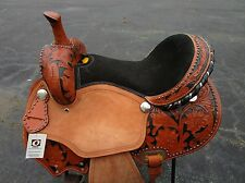 16 SILVER STUD BARREL RACING SHOW PLEASURE TOOLED LEATHER WESTERN HORSE SADDLE