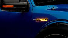 Ford F150 Illuminated LED Side Emblems in Black Case -F150 in Amber Illumination