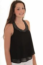 Ladies Layered Chiffon Crepe Studded Woven Low Back Smart Baggy Flare Top