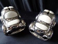 Pair Handmade Hallmarked Italian Silver Plate Bubble Cars Money Piggy Bank Boxes