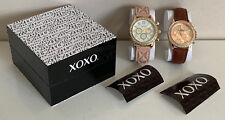 NEW! XOXO BLUSH PINK SILICONE STRAP & BROWN LEATHER WATCH DUO SET XO9243 SALE