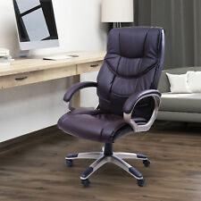 HOMCOM Managerial Office Chair Faux Leather Swivel Adjustable Height Brown Wheel