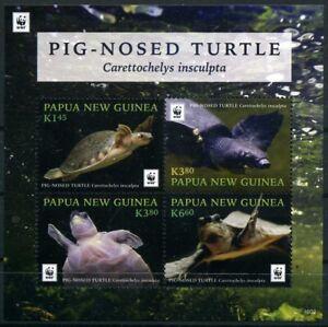 2016 Papua New Guinea, Pig-Nosed Turtle, WWF,  souvenir sheet, MNH