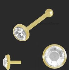 750 Gold Nasenpiercing,flach 2,5 mm Nasenstecker Kugelstift Kristallstein weiß