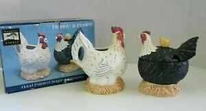 Henny & Penny Hand Painted Sugar & Creamer Rooster Chicken Warren Kimble
